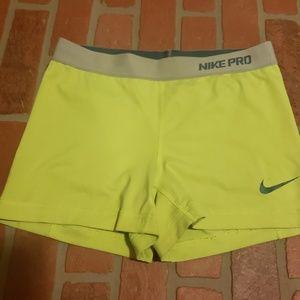 Nike Pro Bright Yellow Spandex Shorts